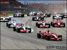Ferrari's Felipe Massa leads the field at the start of the Turkish Grand Prix
