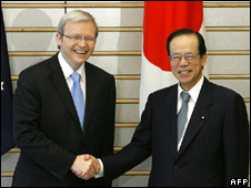 Prime Ministers Kevin Rudd and Yasuo Fukuda. Image: AFP/Getty