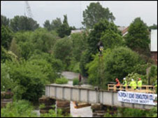 Bridge being demolished