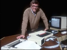 Ian McNaught Davis with BBC Micro on the Computer Programme in 1983