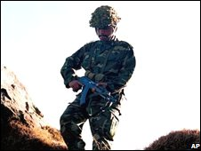 Pakistan soldier on Line of Control (file photo: January 2002)