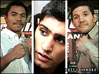 Manny Pacquiao (left), Amir Khan (centre) and David Diaz