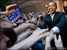 Barack Obama greets a crowd (File Picture)