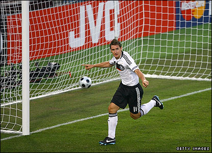 Miroslav Klose celebrates his goal for Germany