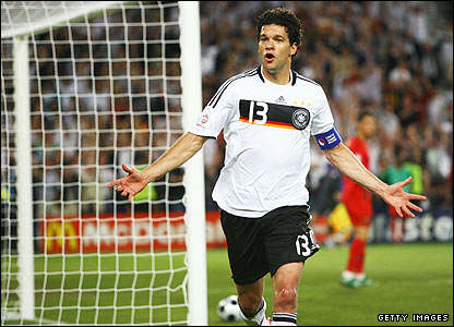 Ballack celebrates scoring Germany's third