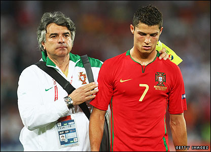 Ronaldo is consoled after defeat to Germany