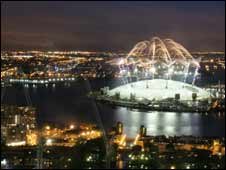 Firework display on opening night of O2