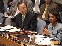 Secretario general de la ONU, Ban Ki-moon y secretaria de Estado de EE.UU., Condoleezza Rice