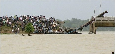 The collapsed highway connecting Orissa and West Bengal