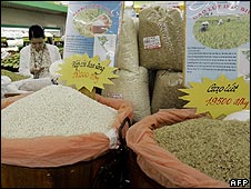 Rice on sale in a store in Hanoi