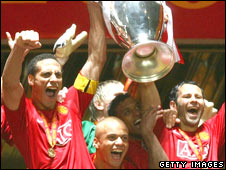 Manchester United celebrate winning the 2008 Champions League