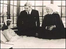 Aneurin Bevan on the day the NHS started. Pic courtesy of Trafford Healthcare NHS Trust