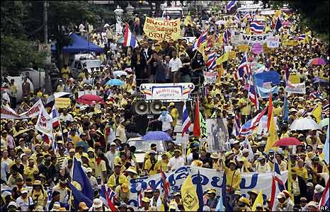 Protesters in Bangkok demanding resignation of the Thai government