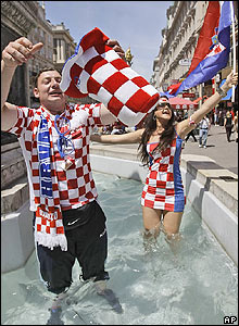 Croatia fans fill the centre of Vienna