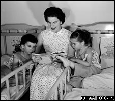 Mother reads bedtiome story in 1955