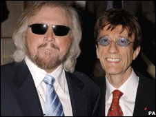 Barry Gibb (left) and Robin Gibb of the Bee Gees
