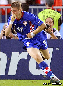 Croatia's substitute Ivan Klasnic celebrates