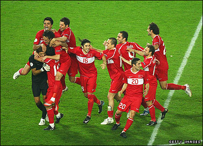 Turkey players celebrate the quarter-final win