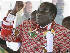 Zimbabwe's President Robert Mugabe speaks in Bulawayo on 20 June 2008