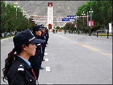 Security was extremely tight in Lhasa