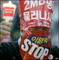 A protester at a rally in Seoul on 20 June 2008