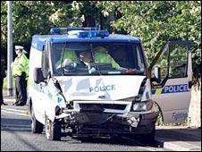 Police van involved in crash