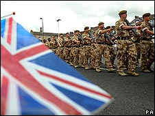 The battalion marching through Redcar