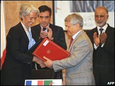 French and Algerian ministers sign a nuclear co-operation deal, 21/06/08