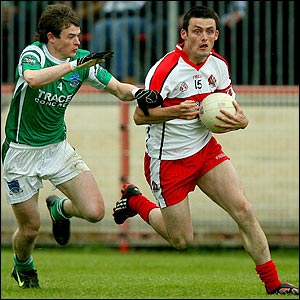 Action from the Ulster Championship semi-final betwen Derry and Fermanagh at Healy Park
