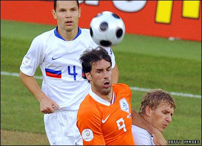 Ruud van Nistelrooy challenges Russia's Denis Kolodin
