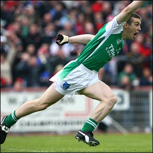 A delighted barry Owens scores a goal for Fermanagh on his return after heart surgery