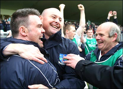 It's time to celebrate for Fermanagh manager Malachy O'Rouke (centre) after the semi-final win
