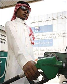 Saudi man at a petrol station