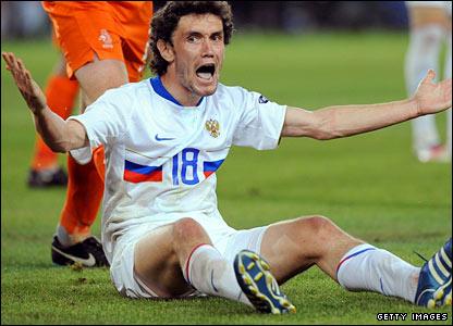 Russia's Yuri Zhirkov appeals for a penalty