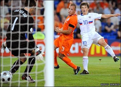 Arshavin scores Russia's third goal