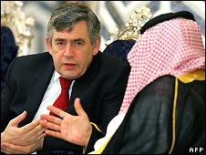 Prime Minister Gordon Brown speaks to Saudi Foreign Minister Prince Saud al-Faisal