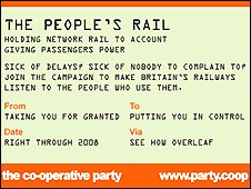 Publicity material for the People's Rail campaign