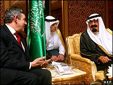 Gordon Brown in talks with King Abdullah of Saudi Arabia