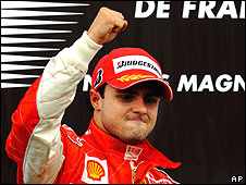 Felipe Massa celebrates victory in the French Grand Prix