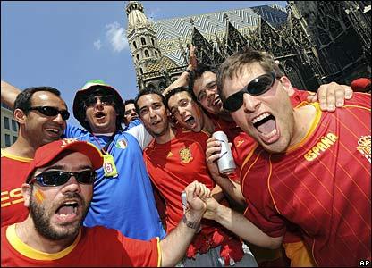Spanish and Italian fans