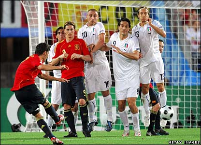Villa and Torres, Spain; Borriello, De Rossi, Toni, and Ambrosini, Italy