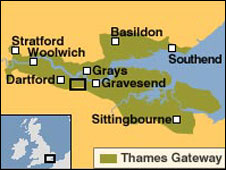 Map of the Thames Gateway area