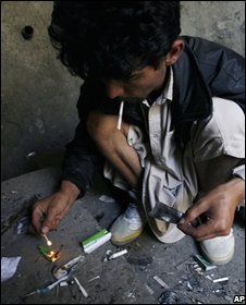 A drug addict in Kabul