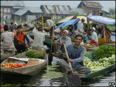 A floating vegetable market on Srinagar's Dal Lake
