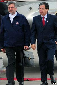 Nicanor Duarte, presidente de Paraguay y Fernando Lugo, presidente electo