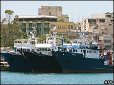 Trawlers in Valletta harbour, Malta
