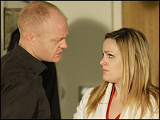 Max Branning played by Jake Wood and Tanya Branning played by Jo Joyner