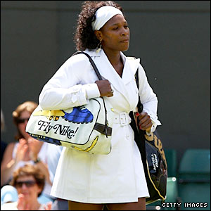 The stylish Serena Williams walks out onto court