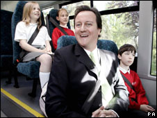 David Cameron on school bus