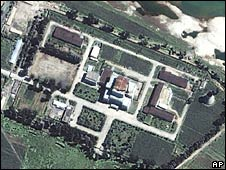 Satellite image of North Korea's main nuclear plant, Yongbyon, in 2002
